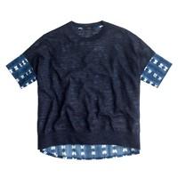 Combo sweater in faded adire