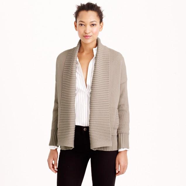 Petite chunky trim open cardigan sweater
