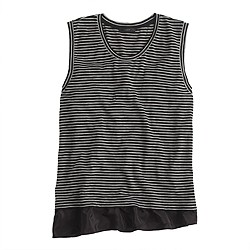 Ruffle hem tank top in stripe