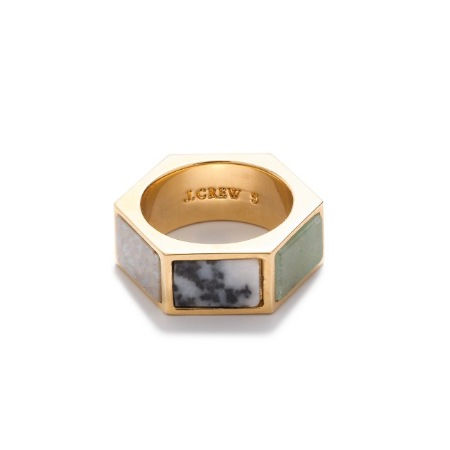 Hexagonal stone ring