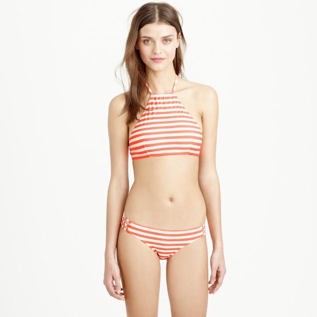 Cropped halter bikini top in stripe