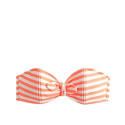 Striped bandeau bow bikini top