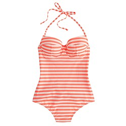 Long torso striped underwire one-piece swimsuit