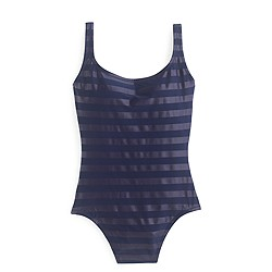 Laminated striped scoopback one-piece swimsuit