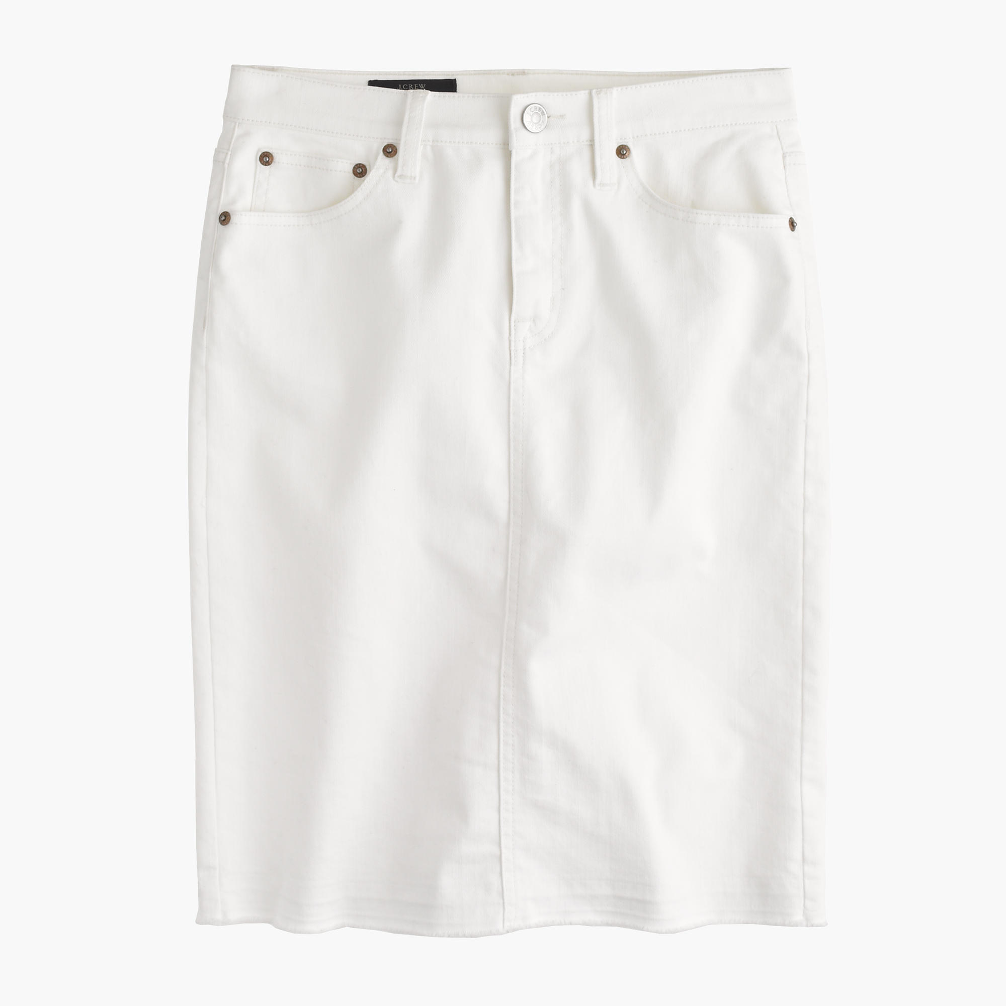Frayed denim pencil skirt in white : Women denim | J.Crew