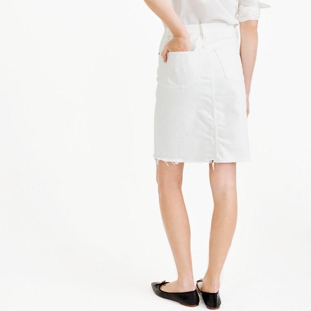 Frayed denim pencil skirt in white : Women denim | J.Crew
