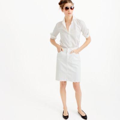 frayed denim pencil skirt in white denim j crew