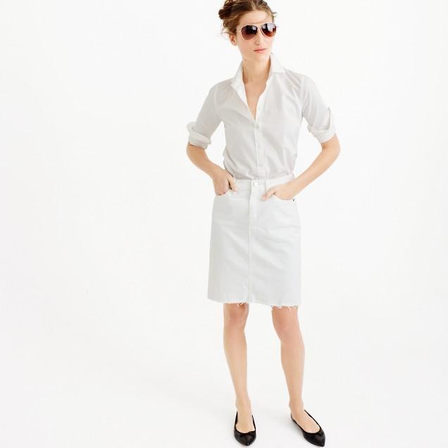 Petite frayed denim pencil skirt in white