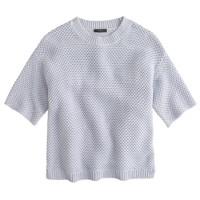 Short-sleeve open-stitch sweater