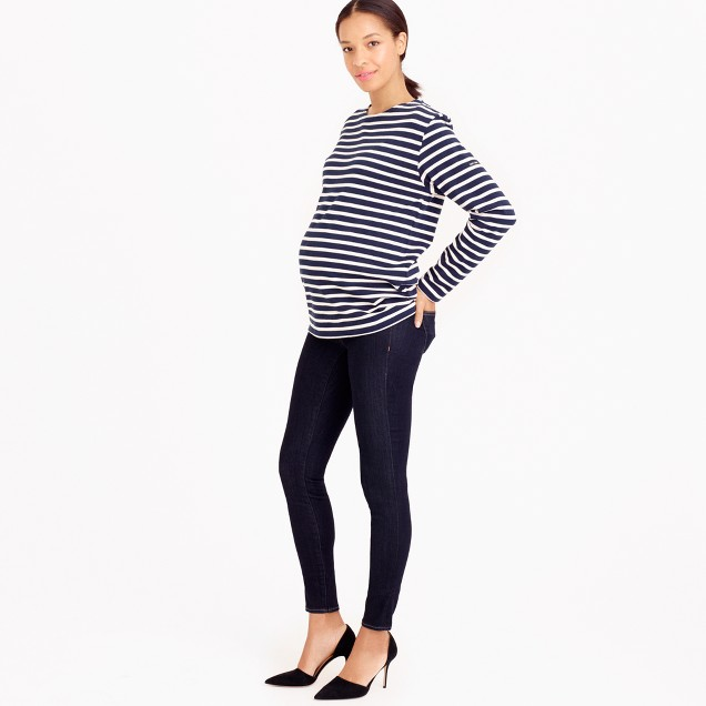Tall maternity pull-on toothpick jean in rinse wash