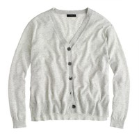 Summerweight cotton V-neck cardigan sweater