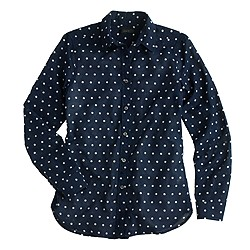Oversized boy shirt in polka dot