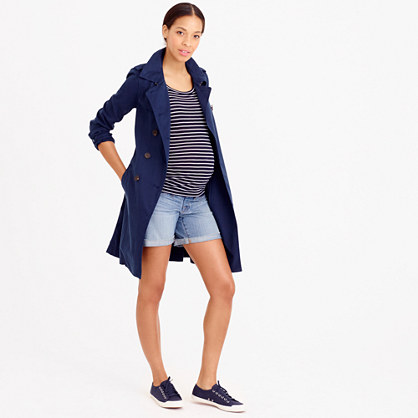 Maternity denim pull-on short in patina wash