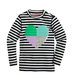 Girls' rash guard in heart stripe