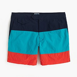 "6.5"" tab swim short in blue colorblock"
