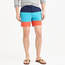 "6.5"" tab swim short in blue colorblock"