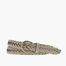 Chevron-braided leather belt