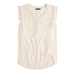 V-neck band-sleeve shell