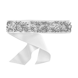 Jeweled floral grosgrain belt