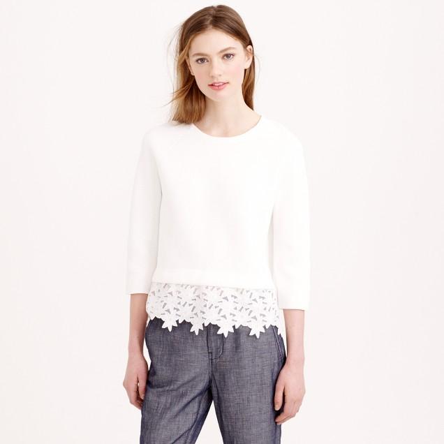 Eyelet-panel sweater