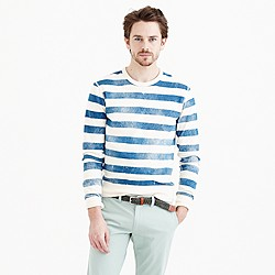 Lightweight sweatshirt in distressed stripe