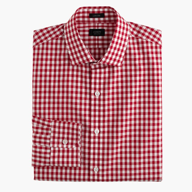 Ludlow cotton-linen shirt in classic red gingham