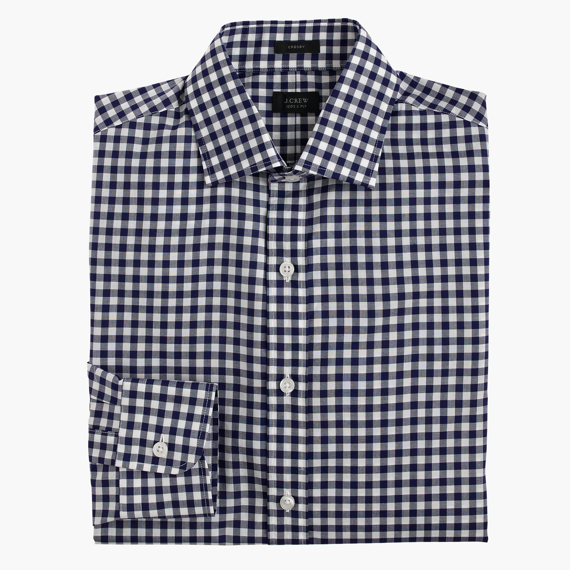 Crosby Classic-fit shirt in navy gingham