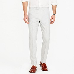 Bowery slim pant in fine-striped cotton-linen