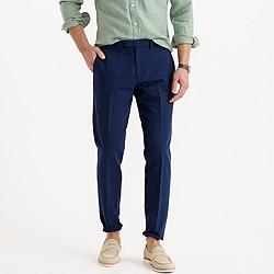 Bowery slim pant in glen plaid cotton-linen