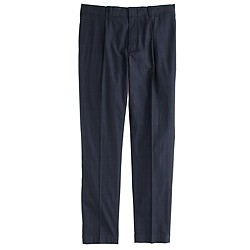Pleated trouser in windowpane cotton