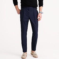 Pleated trouser in windowpane cotton