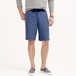 Linen sideline short in indigo stripe