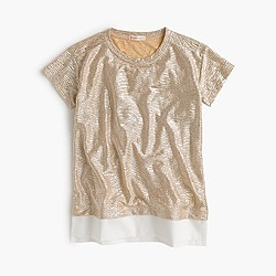 Girls' rose-gold shimmer T-shirt