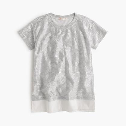Girls' rose-gold shimmer T-shirt