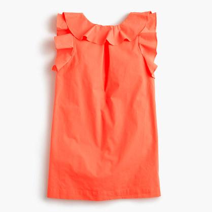 Girls' ruffle poplin dress