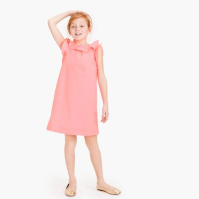 Girls' ruffle poplin dress