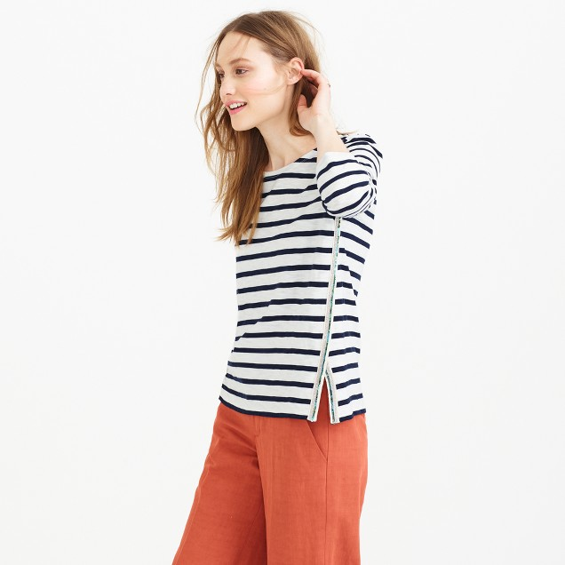 Three-quarter sleeve beaded sailor-striped T-shirt