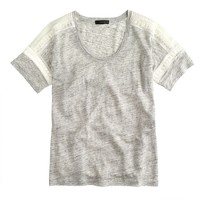 Embroidered linen lace T-shirt