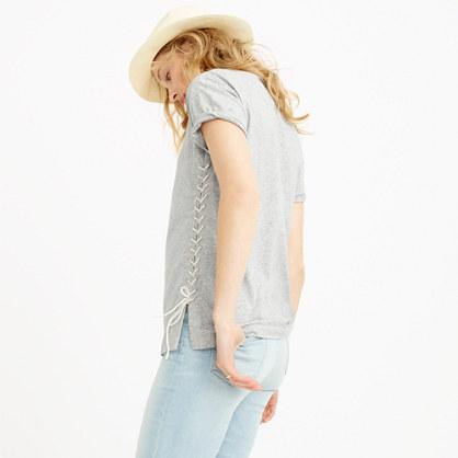 Lace-up tunic T-shirt : short-sleeve tees
