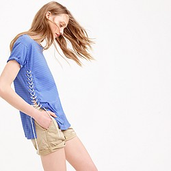 Lace-up tunic T-shirt in stripe