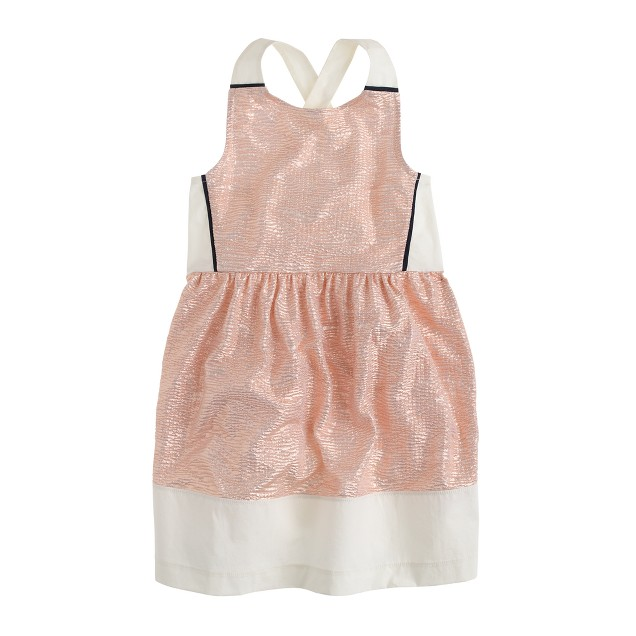 Girls' metallic cross-back dress
