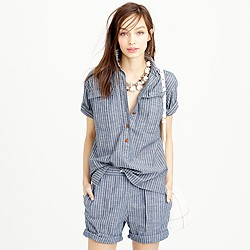 Military popover shirt in indigo pencil stripe