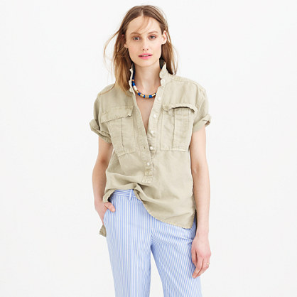 Garment-dyed military popover shirt