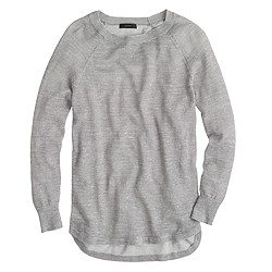 Heathered linen high-low sweater