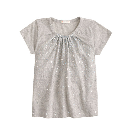 Girls 39 gathered sequin t shirt short sleeve t shirts j for Girls sequin t shirt