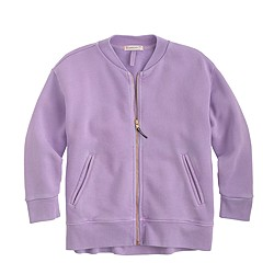 Girls' three-quarter sleeve zip bomber sweater