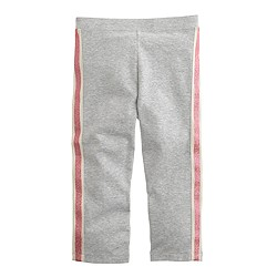 Girls' everyday capri leggings in glitter tux stripe