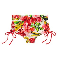 Hibiscus cinched high-rise bikini bottom