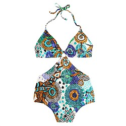 Abstract giraffe cutout one-piece swimsuit
