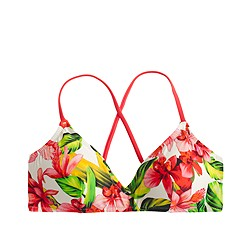 Hibiscus cross-back french bikini top